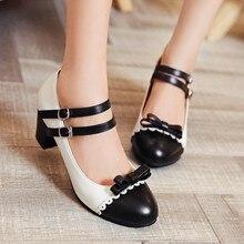 Grande Formato 11 12 delle signore degli alti talloni delle donne scarpe da donna pompe Button legato singola scarpa con la testa rotonda e corrispondenza dei colori