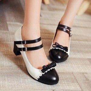 Image 1 - Size Lớn 11 12 Nữ Giày cao gót nữ giày nữ người phụ nữ bơm Nút buộc đơn giày có đầu tròn và màu sắc phù hợp