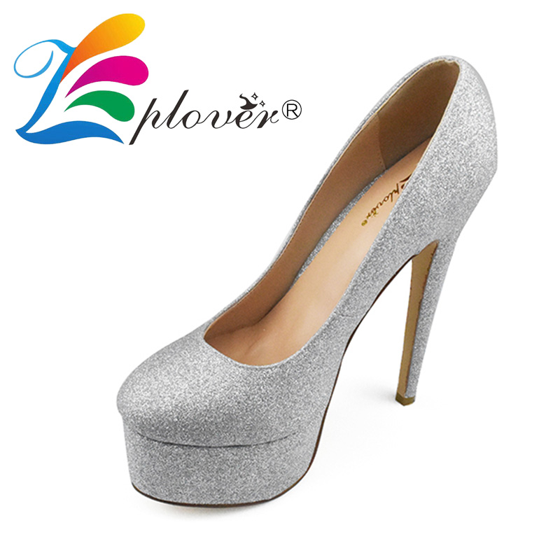 Zplover Women Pumps Sexy Platform High Heel Shoes Extreme Silver Heels Lady Thin Heels Platform Pumps Shoes Woman baoyafang white red tassels women wedding shoes bride 12cm 14cm high heels platform shoes woman high pumps female shoes