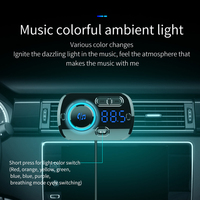 led music SRUIK Car FM Transmitter Fm Modulator Bluetooth 5.0 USB Car Charger Kit Hands-Free Calling Music Player Night Vision LED Light (3)