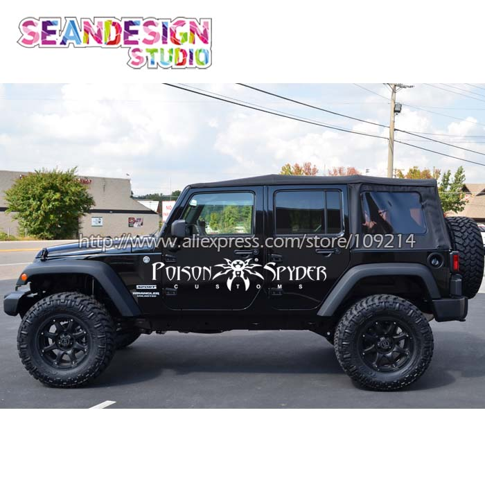 For Jeep Wrangler RUBICON Sahara Spyder 4X4 OFF ROAD SUV WHEEL Van Truck Decal Stickers Waterproof Z24 siku внедорожник jeep wrangler с прицепом для перевозки лошадей