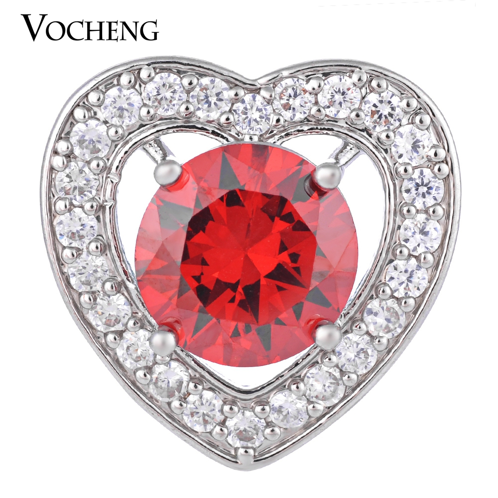 CZ Stone Vocheng Ginger Snap 18mm Luxury Brass Material 4 Colors Bling Heart Charms Vn-1274