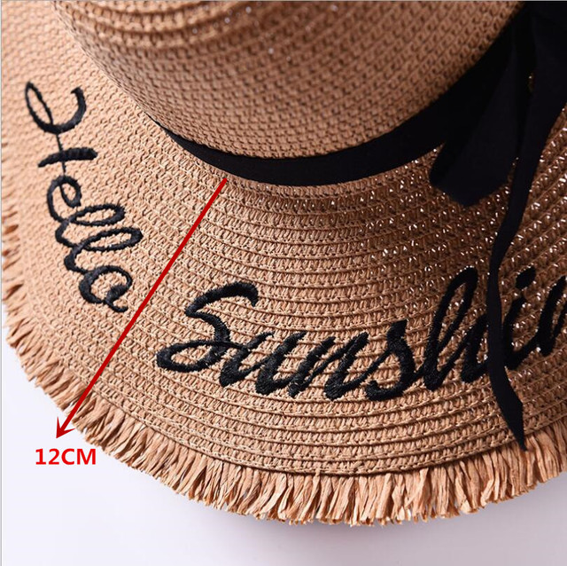 Handmade Weave letter Black Ribbon Lace Up Large Brim Straw Hat