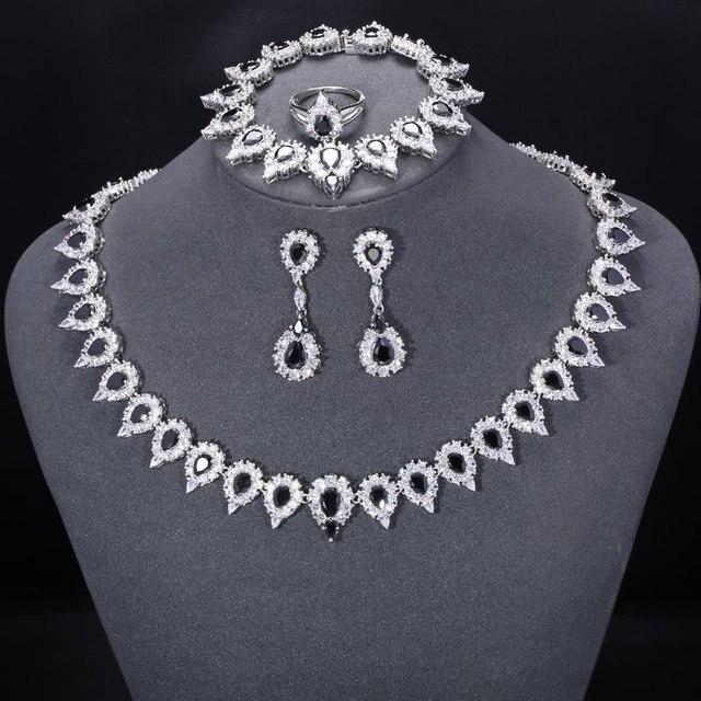 ZHE FAN Luxury Jewelry Sets For Women Party Wedding Black AAA CZ Zirconia 4 Pcs Earrings Necklace Ring Bracelet Romantic Gift