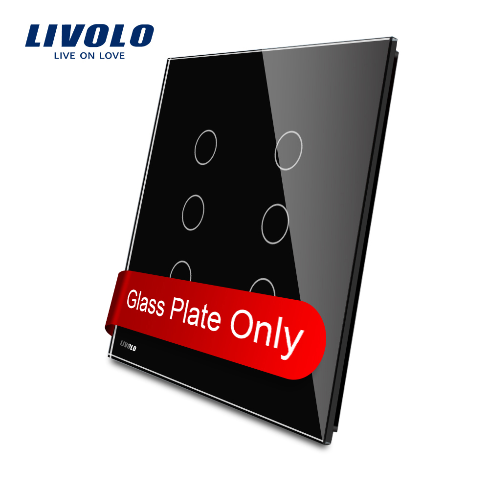 Livolo US standard Luxury Black Crystal Glass, Double Glass Panel For 3 Gang+3 Gang Switch VL-C5-C3/C3-12 us 3 12