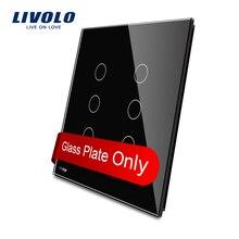 Livolo США Стандартный Роскошный Черный Кристалл Стекло, двойной Стекло Панель для 3gang + 3 gang переключатель vl-c5-c3/c3-12