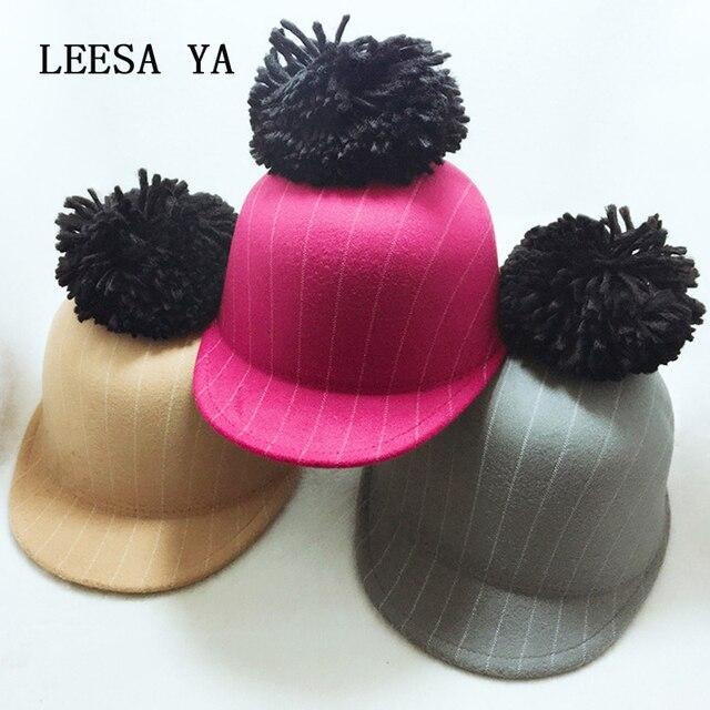 980abf52457 Fashion Women s Fedora Hat Autumn Winter Laday Fur Ball Striped Fedora Hats  For Women Children Lovely Parent-child Cap Gorra