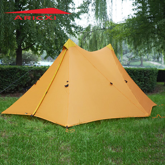 Aricxi Camping Tent Ultralight 1-2Person Outdoor 20D Nylon Both Sides Silicon Coating Rodless A tower Large Tent 1240g camping tent ultralight 6 8 person outdoor 20d nylon both sides silicon coating rodless large space tent triangle 4 season
