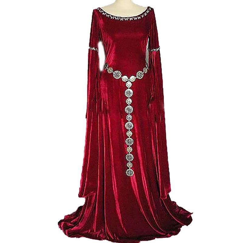 Della Signora di età Medievale Orrore Male Sacerdotessa Pagan Strega Costume Lungo Abito Blu Abito Rosso Maxi Addestrato Abito di Velluto Vestito Per delle donne