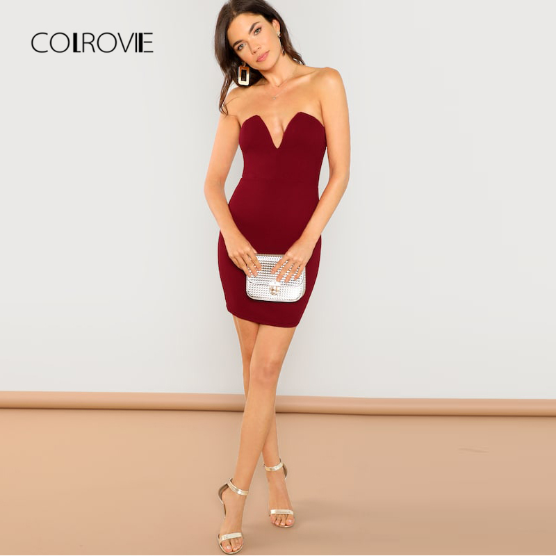 bd7381c5fb8 COLROVIE Red Solid V Neck Strapless Tube Party Dress Women 2018 Autumn Bodycon  Sexy Dress Vintage Elegant Evening Mini Dresses-in Dresses from Women s ...