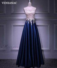 VENSANAC 2018 Illusion Crystal O Neck Lace Appliques Long Evening Dresses Elegant A Line Satin Party Prom Gowns