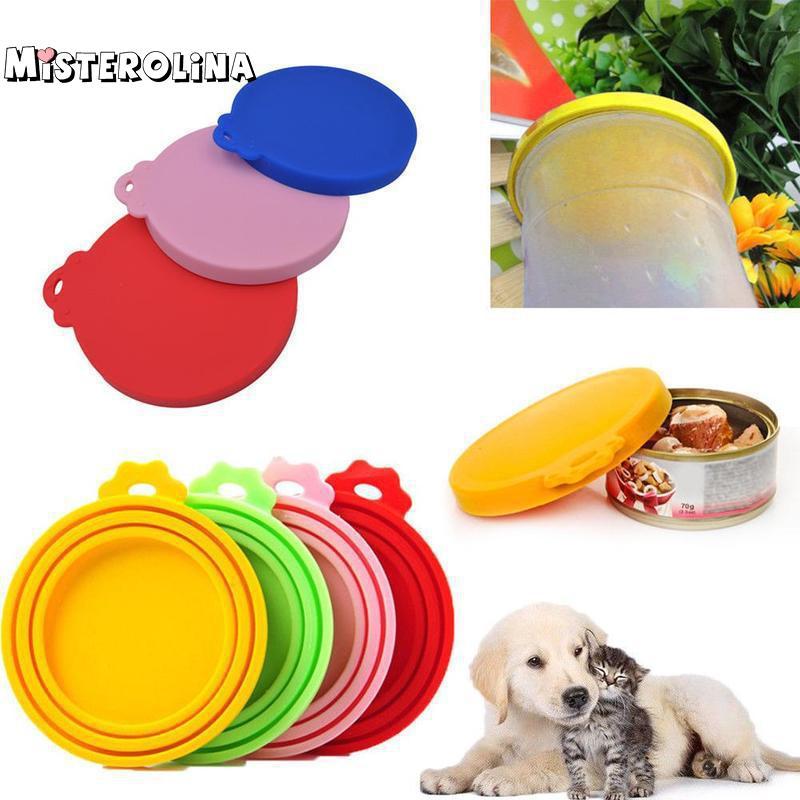 color al azar Tapa de silicona reutilizable para contenedor de comida de mascotas para perros y gatos