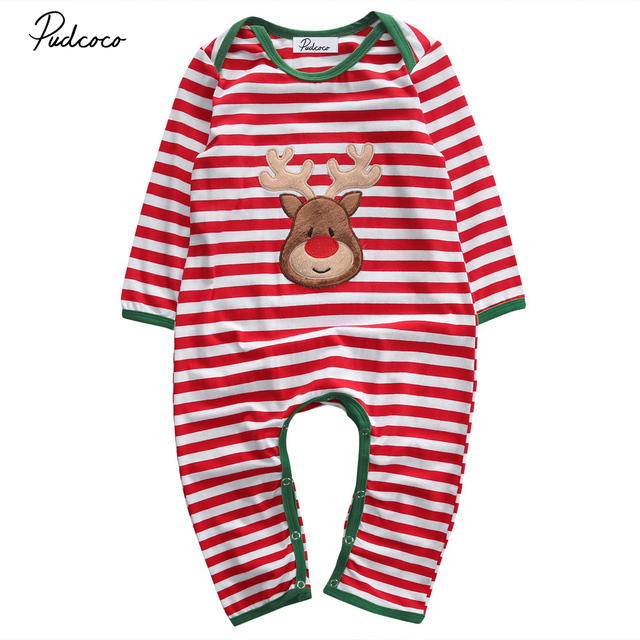0872c4fae Christmas Baby Romper Pajamas Red Stripes Long Sleeve Newborn Baby ...