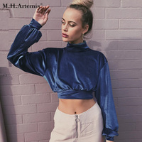 M. H. Artemis Blue Velvet Crop Top Jesień Wysoka neck Bluza Cały Mecz z długim rękawem Pullover Bluzki Casual Fajne dziewczyny Chic Moletom
