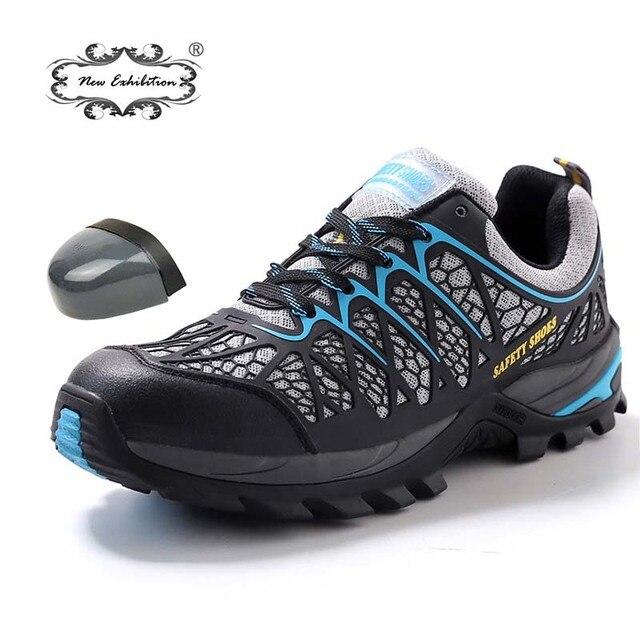 Yeni sergi erkek güvenlik ayakkabıları hafif nefes yumuşak moda açık macera iş botları çelik ayak örgü erkek ayakkabı