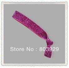 "Elástica Rosa Glitter Cabelo Ribbon Ties 5/8 ""Trecho Metallic Velvet Ribbon Laço de Cabelo Laço de Cabelo Das Mulheres"