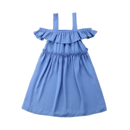 Newborn Infant Baby Kid Girl Fashion Casual Short Formal Pullover Nylon Solid Blue Dresses Toddle Clothes 2-7 Year