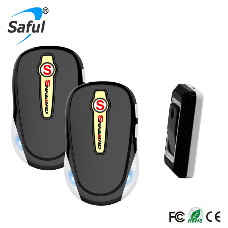 Saful Home Security Free Shipping Waterproof Wireless Doorbell EU/US/AU/UK plug with 1 Outdoor Transmitter+2 Indoor Receiver kerui wireless remote switch smart socket power eu us uk au plug standard for home security alarm system g19 g18 8218g 433mhz