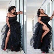 Plus Size Appliques Evening Gowns Black robe de soiree longue Off Shoulder Formal Party Dresses Spaghetti abiye Vestidos