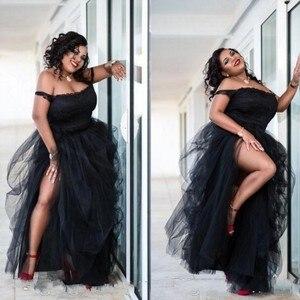 Image 1 - 플러스 사이즈 아플리케 이브닝 가운 블랙 로브 드 soiree longue 오프 어깨 공식 파티 드레스 스파게티 abiye vestidos