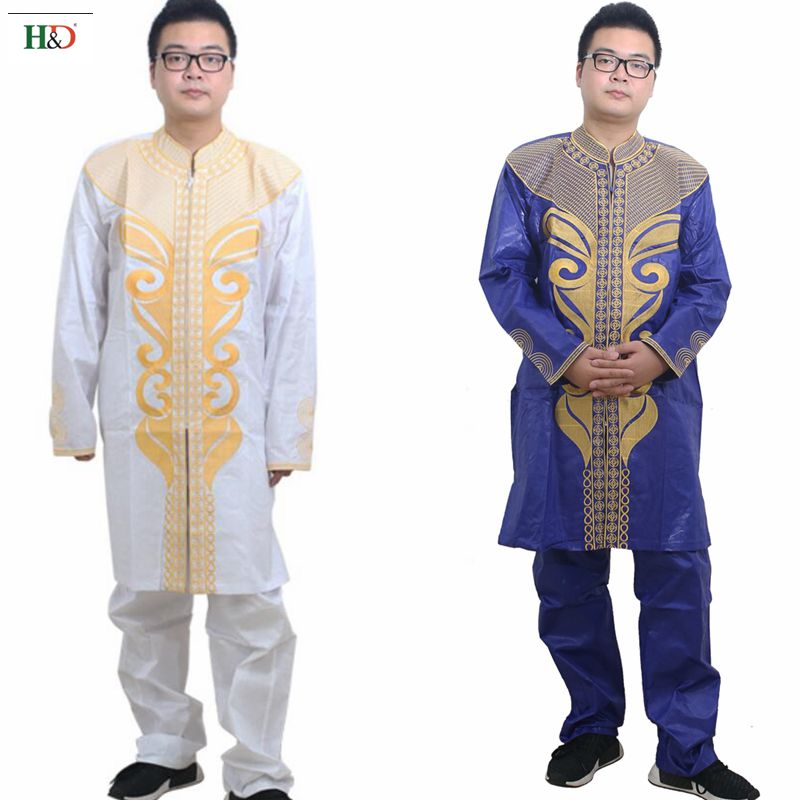 H&D 2018 african men clothes dashiki bazin riche embroidery fashioncotton africa male Clothing tops pant suits Traditional