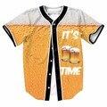It's Beer Time Jersey Women Men Hipster 3D Prints Hip Hop Top Streetwear Swag t shirt Male Baseball Tees Buttons Overshirt