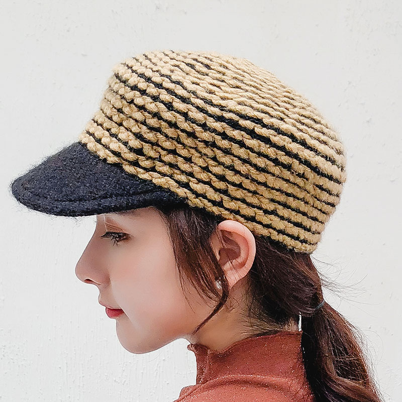 BINGYUANHAOXUAN 2018 New Female Military Cap Wool Knitting Color Mixing Autumn Winter Fashion Rose Casual Women Hat in Women 39 s Military Hats from Apparel Accessories