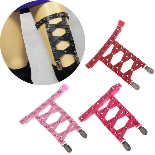 1 Piece Harajuku Punk Sexy Women Knee Leg Garter Belt Elastic Rivet Leather X Bandage Leg Ring Suspender Intimates
