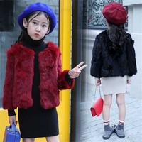 2019 New Fashion Children Real Rabbit Fur Outerwear Kids Girls O neck Warm Coat Teen Girl Thicken Jackets Clothing Parka Q492
