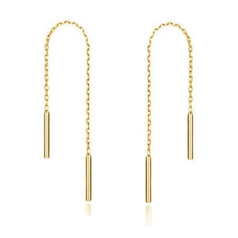 New 925 Ear Thread Earrings 6CM 8CM 10CM Long Chain Earrings for Women Delicate Authentic Sterling Silver Jewelry in Drop Earrings from Jewelry Accessories