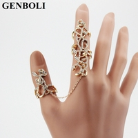 Vintage Hollow Out Flower Turkish Rings Adjustable Size Women Crystal Gold Jewelry Link Two Fingers Ring