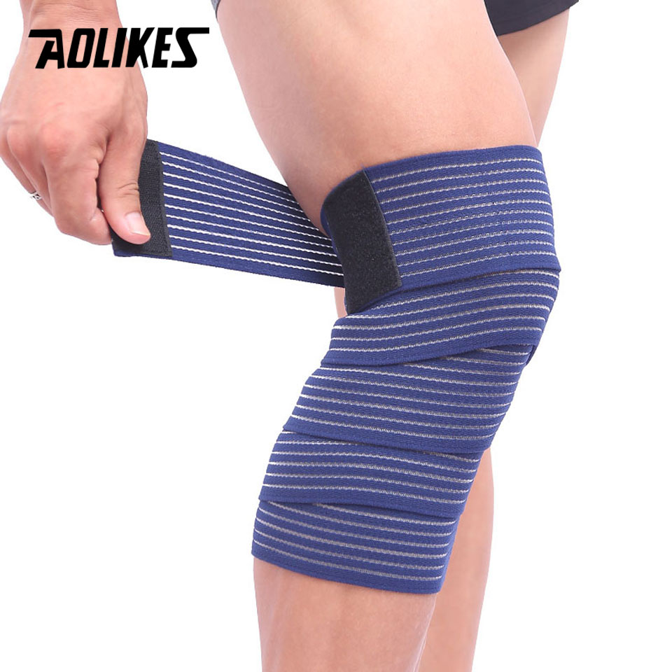 AOLIKES 1PCS Elastic Bandage Tape Sport Knee Support Strap Shin Guard Compression Protector For Ankle Leg Wrist Wrap(China)