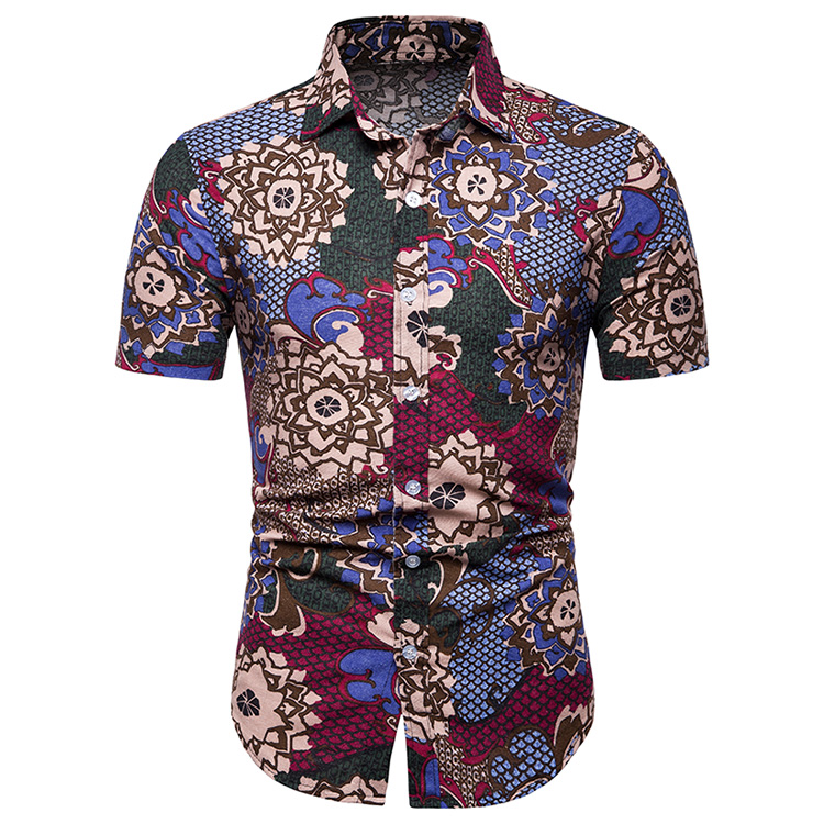 Floral Stitching Linen Shirts Men Short-sleeved Social Shirt Blouse Men's Clothing Hawaiian Style Summer Red Blue