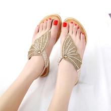 Women Sandals Summer Shoes Woman flip-flops Ladies Casual Shoes 2019 Sandalias Mujer Rhinestones Gold Flat Sandals Plus Size 42