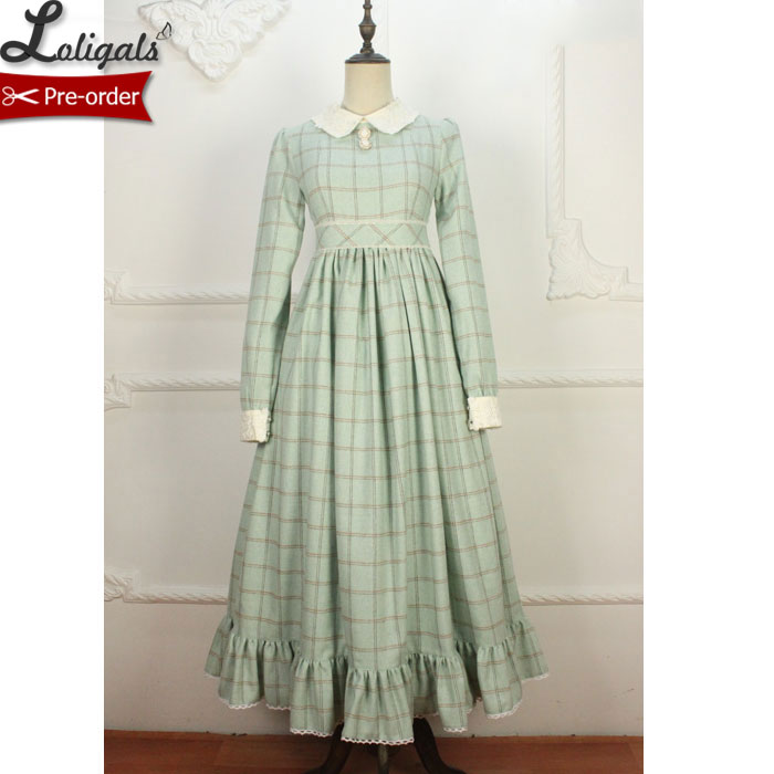 Retro Style Women s Long Wool Dress Plaid Winter Maxi Dress Custom Tailored