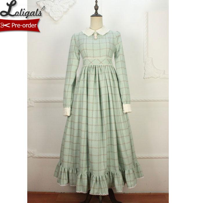 Retro Style Women s Long Wool Dress Plaid Winter Maxi Dress Custom Tailored