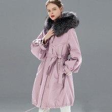 Veste Long en fourrure de raton laveur naturelle pour femme, manteau chaud de neige femme, manteau chaud avec col en fourrure à capuche, 2020