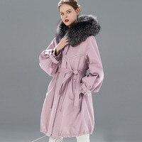 Waterproof Winter Jacket Women Brand 2019 Long Parka Natural Raccoon Fox Fur Collar Hooded Real Fur Coat Female Warm Snow Coats