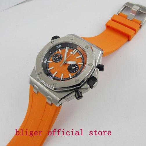 Style d'été Fashional Sport Style Hommes Watch43mm Orange Cadran Quartz mouvement Multifonction Montre-Bracelet