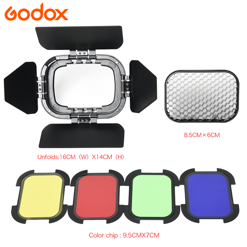 Godox BD-07 Barn Door 4 Color Gel Filters (Red Yellow Blue Green) with Honeycomb Grid for Godox AD200 pocket flash godox bd 04 barn door honeycomb grid with 4 color gel filter for standard reflector