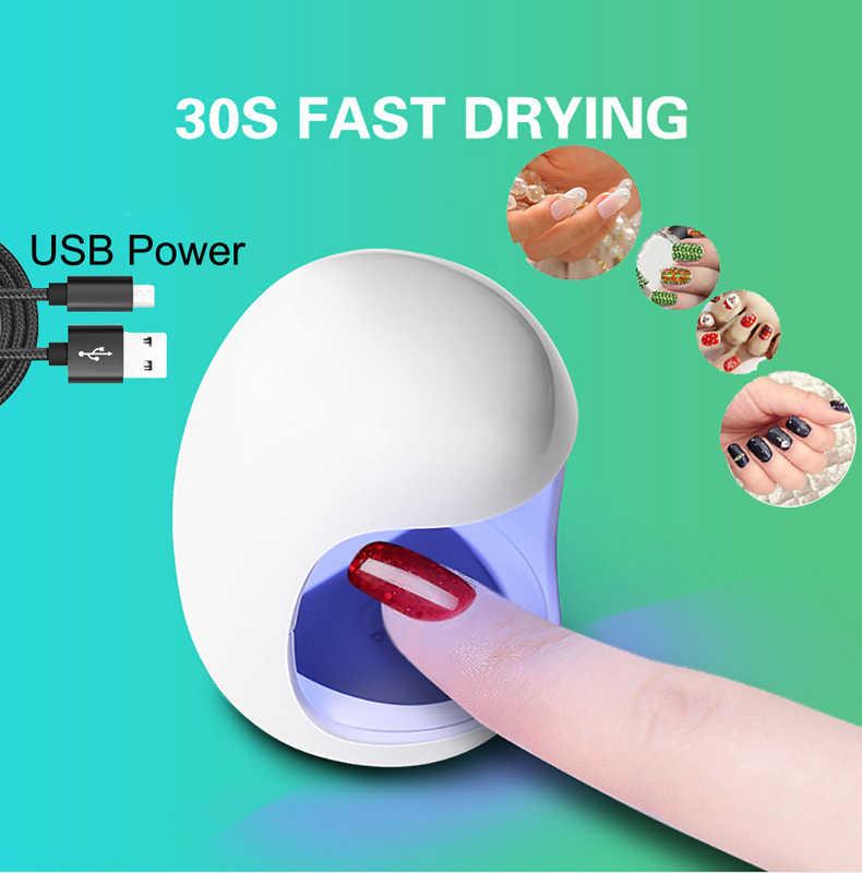 3W USB Mini tırnak kurutucu 30s hızlı kurutma kür işık jel oje için beyaz taşınabilir UV LED kurutma lambası tırnak sanat makinesi araçları