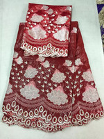 AH37 Red  African Bazin +Lace  with 2yards French Net Lace High Quality Bazin Riche Lace Fabric Latest Bazin