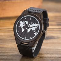 Fashion World Map Mens Quartz Watches Genuine Leather Wood Bamboo Male Wrist Watch Antique Buckle Clasp Shock Resistant Clocks