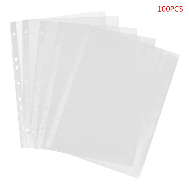 100pcs A4 Transparent Perforated File Storage Document Folder Case Bag Sleeves