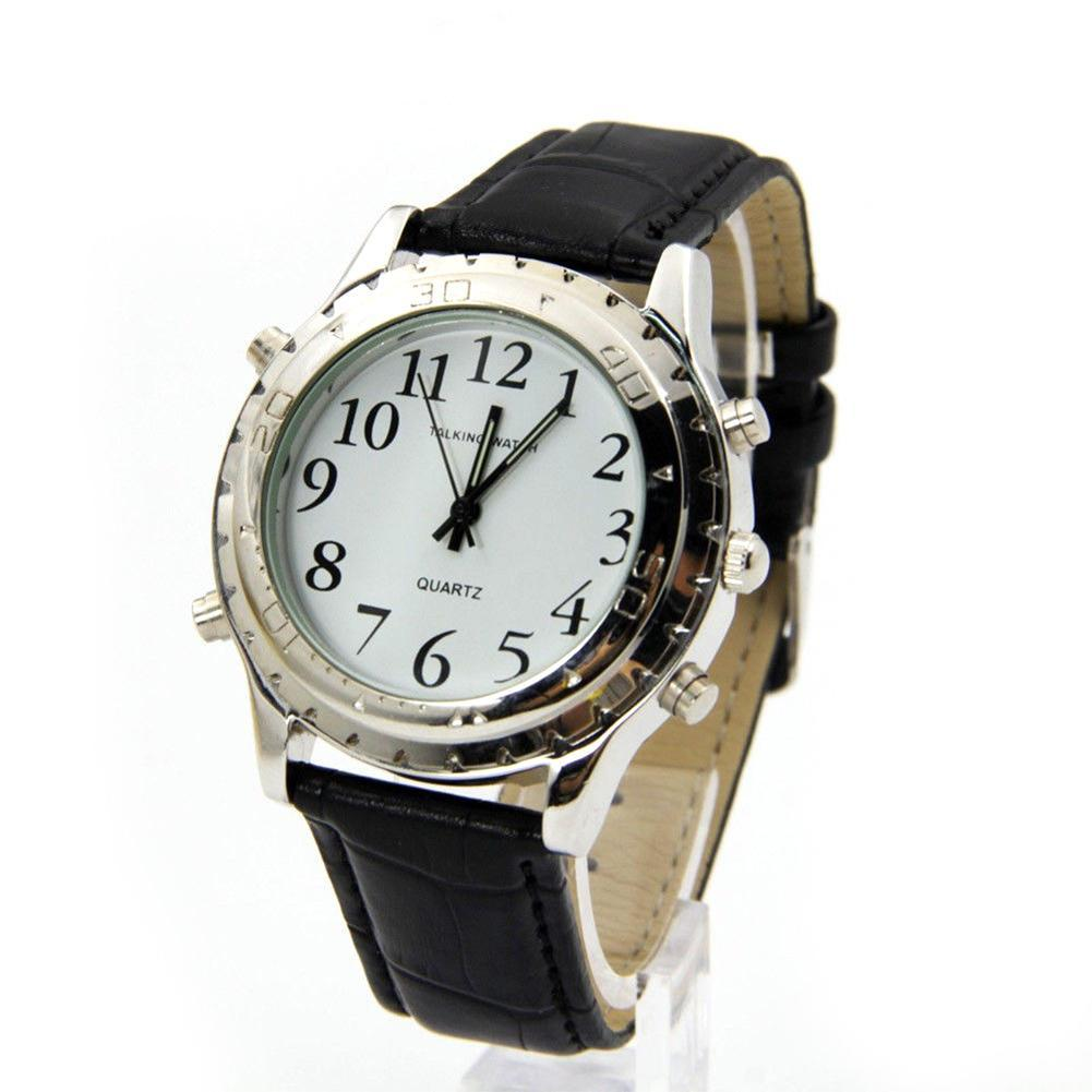 Watch Talking-Clock Blind Visually Impaired Quartz Stainless-Steel New English For Relogio