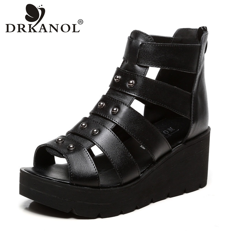DRKANOL Solid Black Platform Women Sandals Summer Wedge Gladiator Sandals Women Casual Shoes Fashion Rivet Open Toe High Heel rhinestone silver women sandals low heel summer shoes casual platform shiny gladiator sandal fashion casual sapato femimino hot
