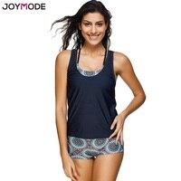 JOYMODE Geometric Printed Tankini With Boyshort Swimsuit Set Plus Size 3 Pieces Swimwear Women Bikinis Black
