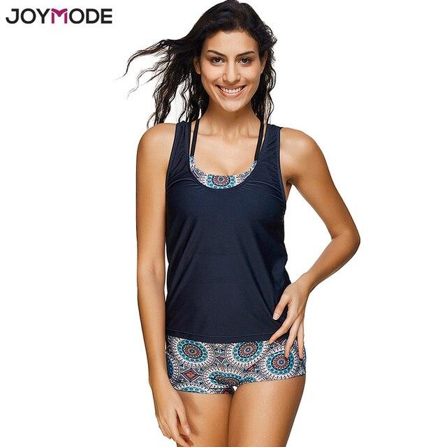 929d3af56fc5 JOYMODE Geometric Printed Tankini With Boyshort Swimsuit Set Plus Size 3  pieces Swimwear Women Bikinis Black Bathing Suits