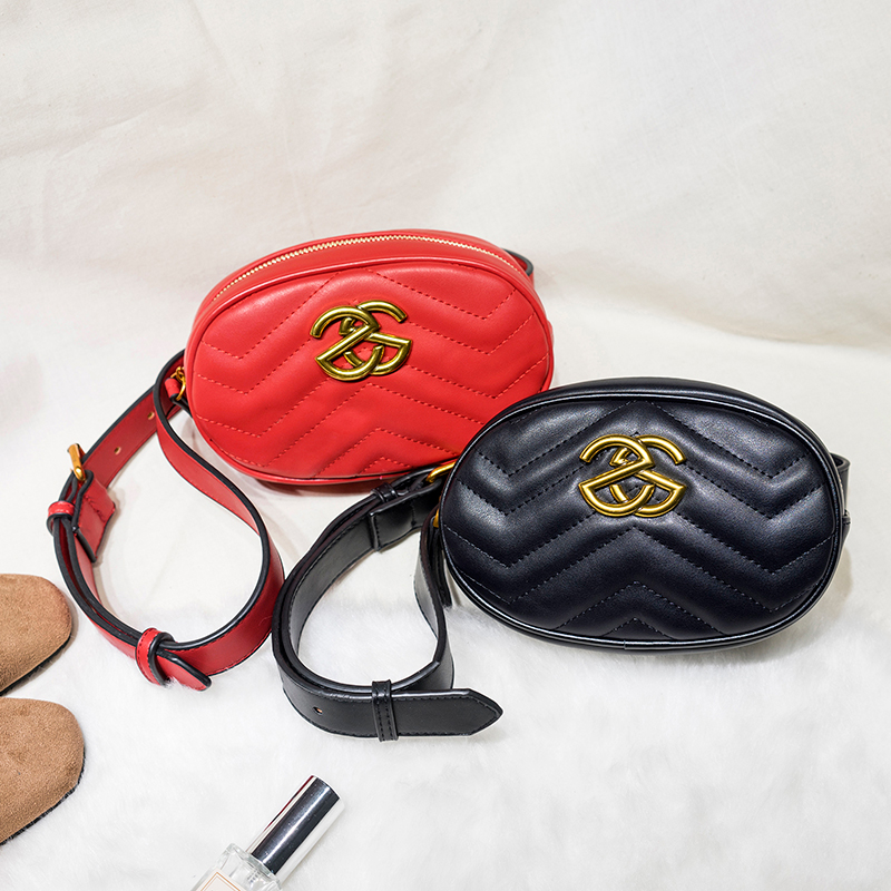 HaLuYa Leather Velvet Waist Bag Women Luxury Brand Waist Purse Ladies Fashion Fanny Packs For Women Bag Belt 2018 Red Black