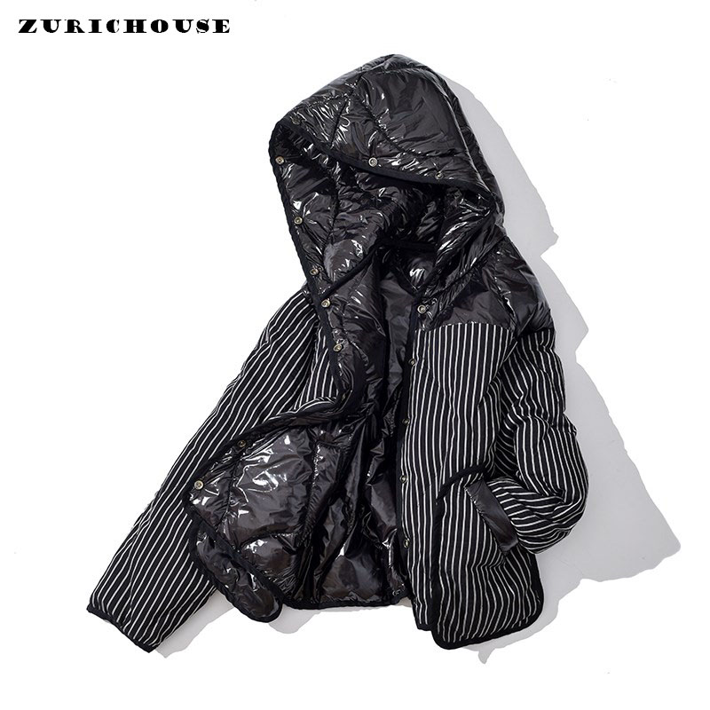 ZURICHOUSE Winter Down Parka Women's Double-sided Wear Striped Glossy Hooded 90% White Duck Down Coat Feather Jackets Ladies